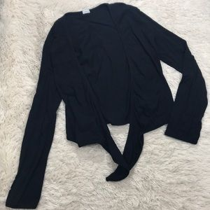 Jams World Solid Black Open Tie Up Cardigan